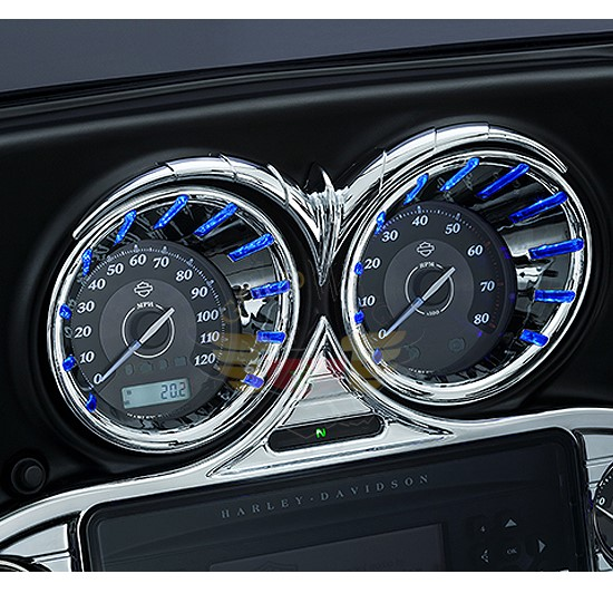 CHROME L.E.D. SPEEDO/TACH BEZELS  BLUE 7289