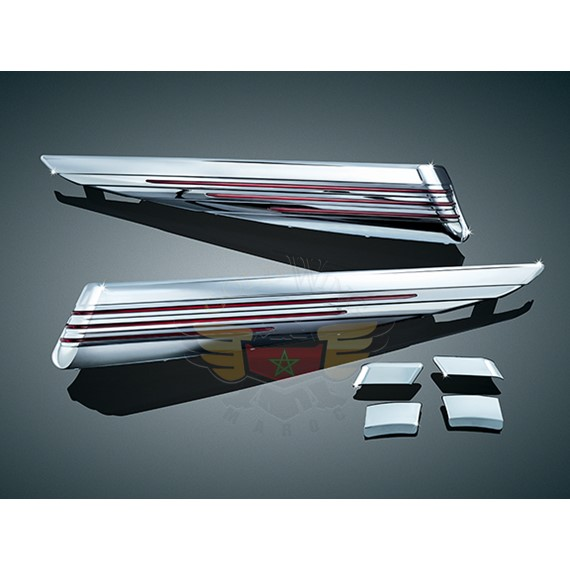 L.E.D. SADDLEBAG EXTENSIONS, CHROME/RED 7272